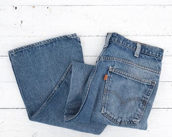 31-33 waist | Levis 646 Orange Tab Bell Bottom Denim Jeans