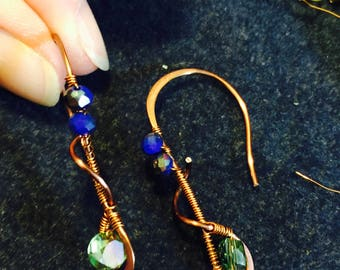 Handmade Copper and Glass Crystal Bead Earrings