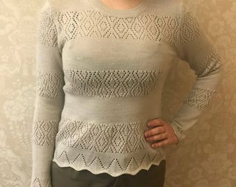 Hand knitted wool (50%) sweater