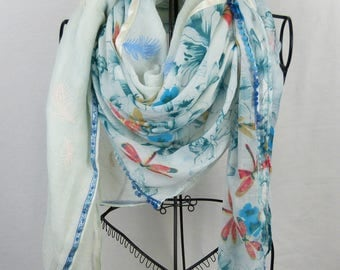Large square scarf collection 180, big shawl, scarf clear, light green scarf, flower scarf white scarf