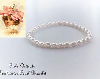 Girls Freshwater Pearl Bracelet, Communion Bracelet, Christening Bracelet, Baptism Bracelet, Confirmation Bracelet, Flower Girls Bracelet