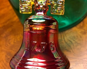 Joe St. Clair Liberty Bell Ruby Carnival Glass