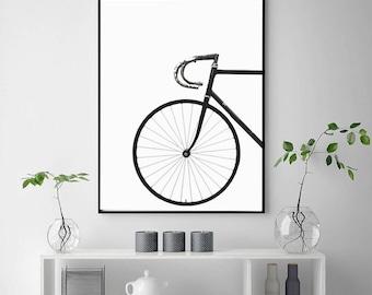 Bicycle Print | Printable Wall Art | Bike Poster | Scandinavian Art | Black and White | Minimalist Art | Affiche Scandinave | Digital Poster