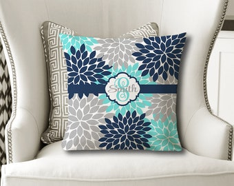 Monogram Flower Throw PILLOW, Floral Navy Aqua Gray, Flower Pillow Cover or With Insert, Flower Matching Bedding, Choose Your Colors