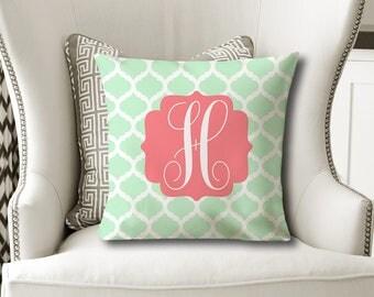 MONOGRAM PILLOW, Coral Mint Nursery- Baby Girl Shower Gift, Daughter Gift, Christmas Sister Gift, Dorm Room Pillow Cover or W Insert