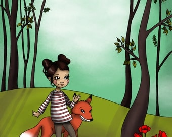 Lily and the Fox - Print A3
