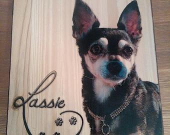 Regalo personalizado Regalo de Navidad.Fotografía en madera.Cuadro  de tu mascota.