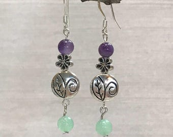 Silver flower earrings, amethyst earrings minimalist, purple gemstone earrings, green gemstone earrings, purple green earrings, ultra violet