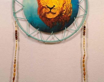 Green Leather Leo Dreamcatcher