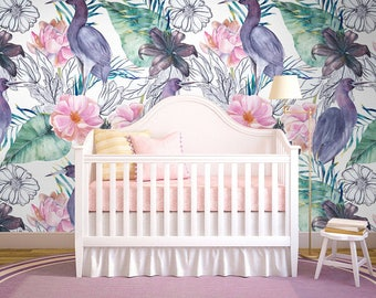 Tropical Birds Removable Wallpaper - Wall Covering - Removable Wallpaper - Traditional - Self Adhesive - Peel And Stick - Wall Decor  #195