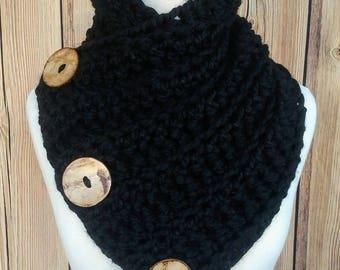 Crochet Cowl, Crochet Button Cowl, Harbour Bay Button Cowl, Chunky Button Cowl, Chunky Crochet Button Cowl