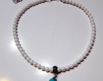 Pearl Necklace with Turquoise pendant