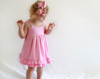 Pink Linen Dress, baby dress, toddler Dress, spring, easter baby, baby easter dress, baby easter, baby girl clothing, baby clothing