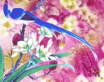 Digital print beautiful bird rose pink faux printed silk satin fabric 156cm Wide for dressmaking, Decor by the meter YGST -5034