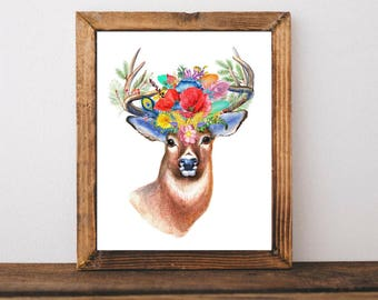 Printable Art, Bohemian Stag, Beautiful Wildlife, Watercolor Flowers Floral Print, Home Office Bedroom Living Room, Decor, Wall Art