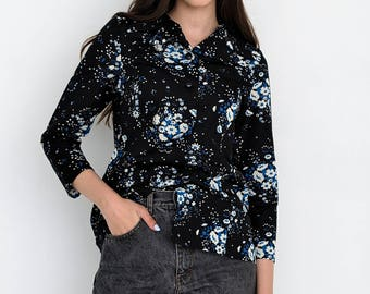 VINTAGE Black Floral Long Sleeve Retro Shirt