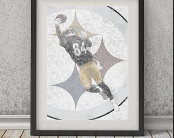 Antonio Brown Pittsburgh Steelers, Modern Art, Kids Decor, Football Poster, Sports Print, Man Cave