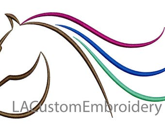 Horse Embroidery Design Horse Head Embroidery Design Horse Ouline Horse Head Silhouette Colored Mane