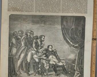 Napoleon's Renunciation at Fontainebleau 1854. Large Antique Engraving, About 11x15