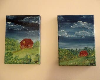 Backwoods barn mini oil paintings set of 2