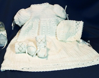 Christening Gown, Baby Baptism, Dedication Dress, Crochet Blessing Set, Cotton Thread, Bonnet and Booties with Bottle Cover w/  Satin Ribbon
