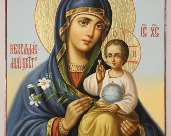 Icon of the Mother of God The Unfading Blossom, handpainted icon, Russian Orthodox Icon