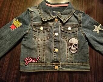 Boy's toddler medium wash denim jacket with patches