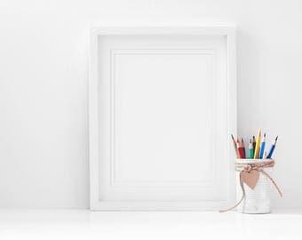 Nursery Frame Mockup 8x10 pencils, Kids Art Mockup, Styled Photography Mockup, White Frame Mockup, Nursery Mockup, Styled Frame Mockup