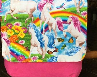 Unicorns and Rainbows Messenger Bag on Pink
