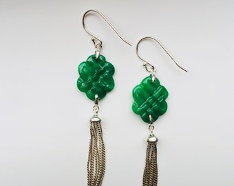 Free Shipping-Vintage Chinese Endless Knot Green Jade Earrings.Sterling Silver Tassel Earrings.Mystic Emerald Earrings.Lucky Gift for Her