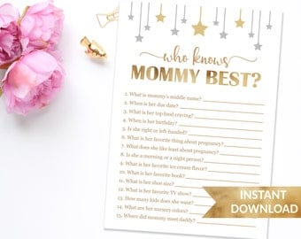 Who knows mommy best baby shower game | Twinkle twinkle little star | Gender neutral shower games | Instant download | Gold stars shower