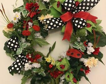 Lady Bug Wreath. Spring Wreath. Summer Wreath.