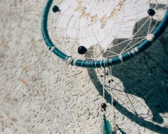 Teal DreamCatcher with Pheasant Feathers