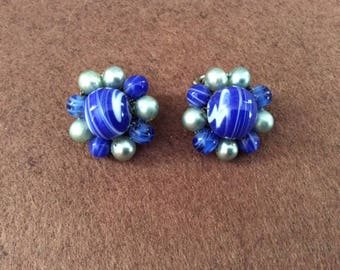 Vintage blue marbled bead earrings