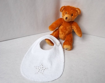 Towel cotton reversible baby bib Terry cloth and silver stars white