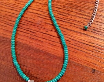 Green magnesite beaded necklace with labradorite accent beads and ss malachite delicate drop pendant
