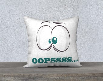 "Decorative pillow ""OOPSS"" funny pillow, Cushion cover for children"