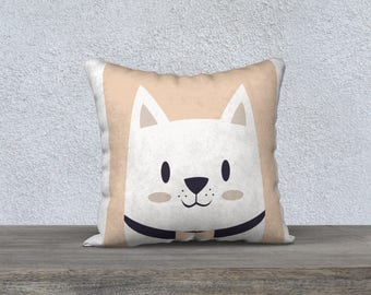 """Decorative pillow cover kids """"Puppy R"""" salmon, white and black design and made in Canada"""