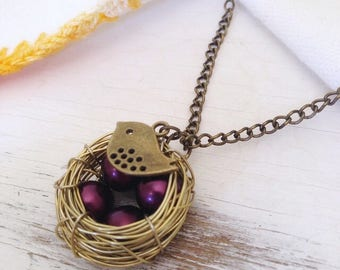 Nest Necklace, Bird Nest Necklace with Plum Eggs, Mom Gift, Grandma Gift, Mothers Day Gift, Wire Bird Nest Necklace, New Mom Gift, Mom to Be