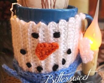 Crocheted Mug Cozy, Snowman Cup Cozy, Snowman Mug Cozy, Mug Cozy, Snowman Cozy, Snowman Mug Hug, Secret Santa Gift, Gift Exchange, Handmade