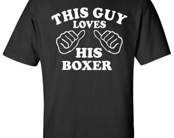 This guy loves his Boxer Dog Logo Graphic TShirt