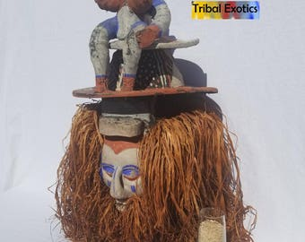 TRIBAL EXOTICS : RARE Premium Authentic fine tribal African Art - Yaka Bayaka Initiation Wood Mask Figure Sculpture Statue