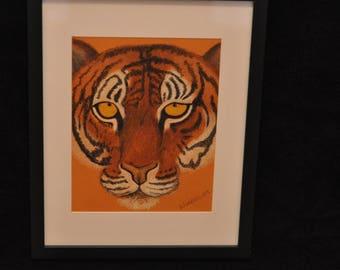 Hand Drawn Pastel Tiger Face