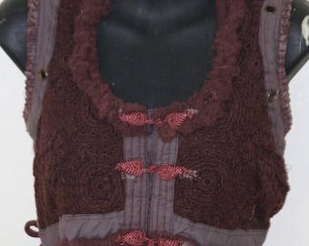 Crochet Vests - Maroon
