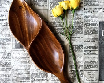 Vintage, Handcrafted Wooden Serving Tray, Monkey Pod Wood, Aloha Woodcrafed , Leaf Shaped, Aloha Hawaii