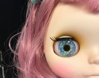 One PAIR of artist made GLASS eye chips for Neo Blythe Doll - also Icy. US seller! Ships within 3 days!