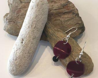 Burgundy wave earrings.