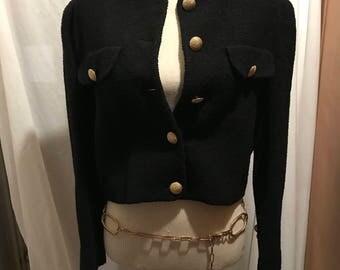 1980's black tweed jacket