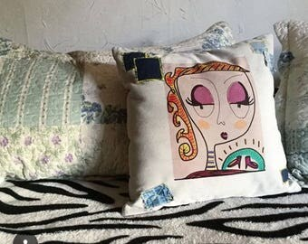 Drawings, original collage on cushions.