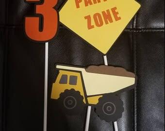 Construction Truck centerpieces set of 3
